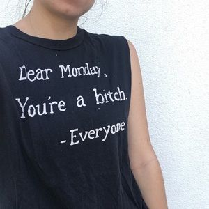 Soft stretchy unif muscle tank tee I hate mondays